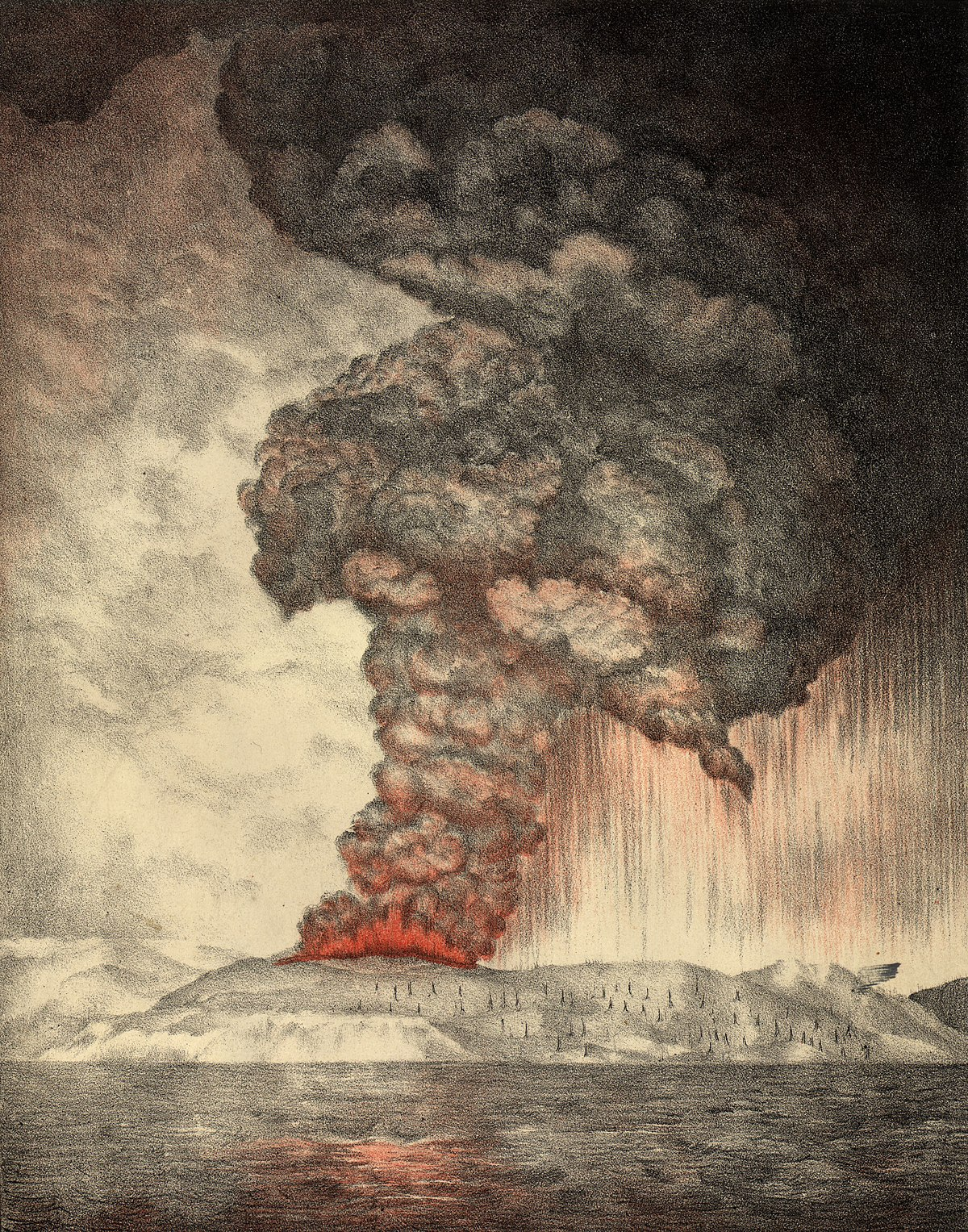 Litografía The eruption of Krakatoa, and subsequent phenomena. Autores: Parker & Coward.